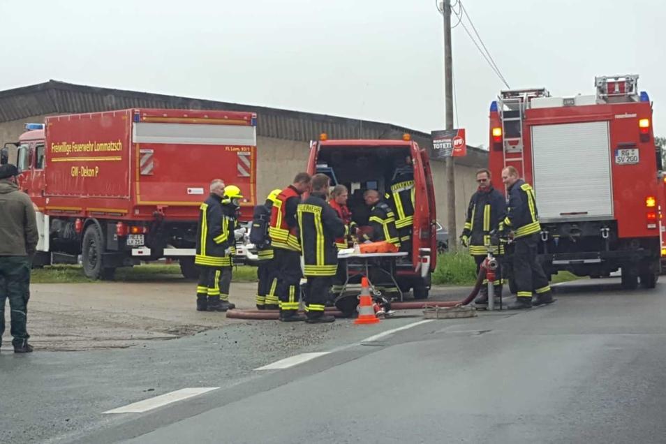 Feuerwehren beim Einsatz in Strehla.