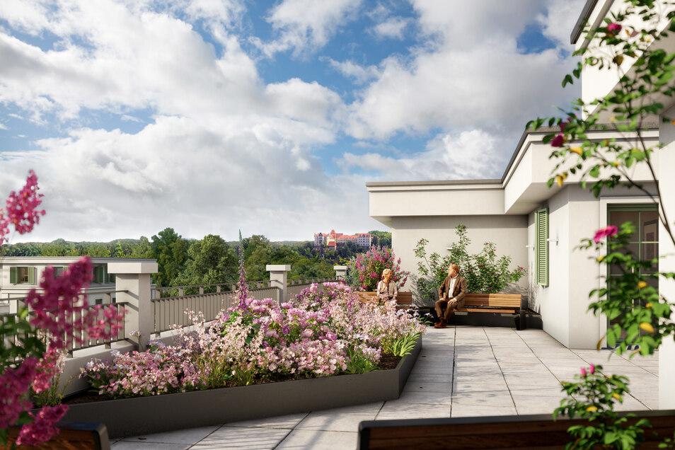 Mit Schlossblick: Auf der Villa Rose gibt es eine große Dachterrasse für alle Bewohner.
