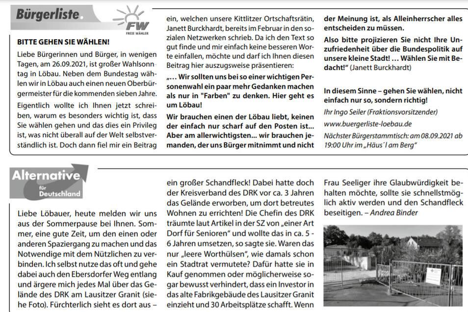 Auszug aus dem aktuellen September-Stadtjournal Löbau. Die AfD-Stadtratsfraktion findet den Bürgerliste-Beitrag unangemessen.