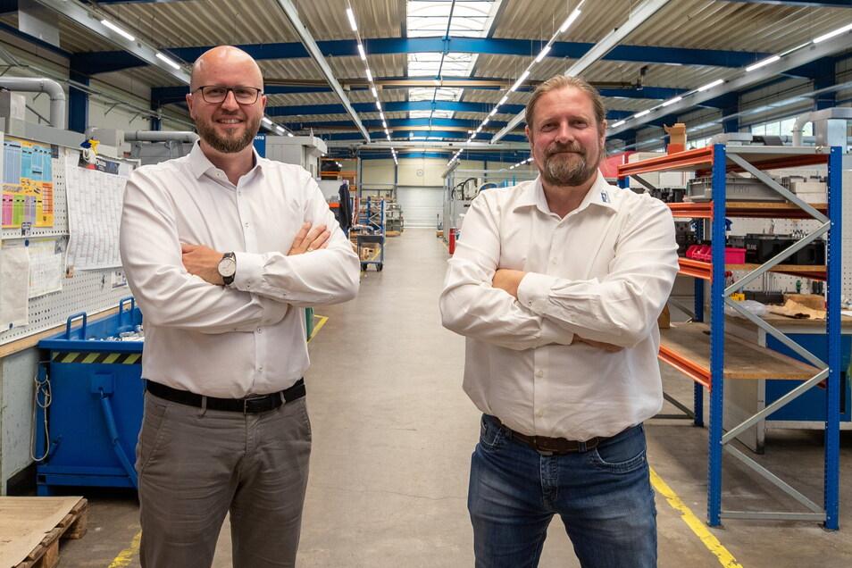 David Riedrich (links) und Torsten Freudenberg blicken trotz einiger Probleme zuversichtlich in die Zukunft. Neue Kunden sollen helfen, dass sich ihre Firma PMG breiter aufstellt.