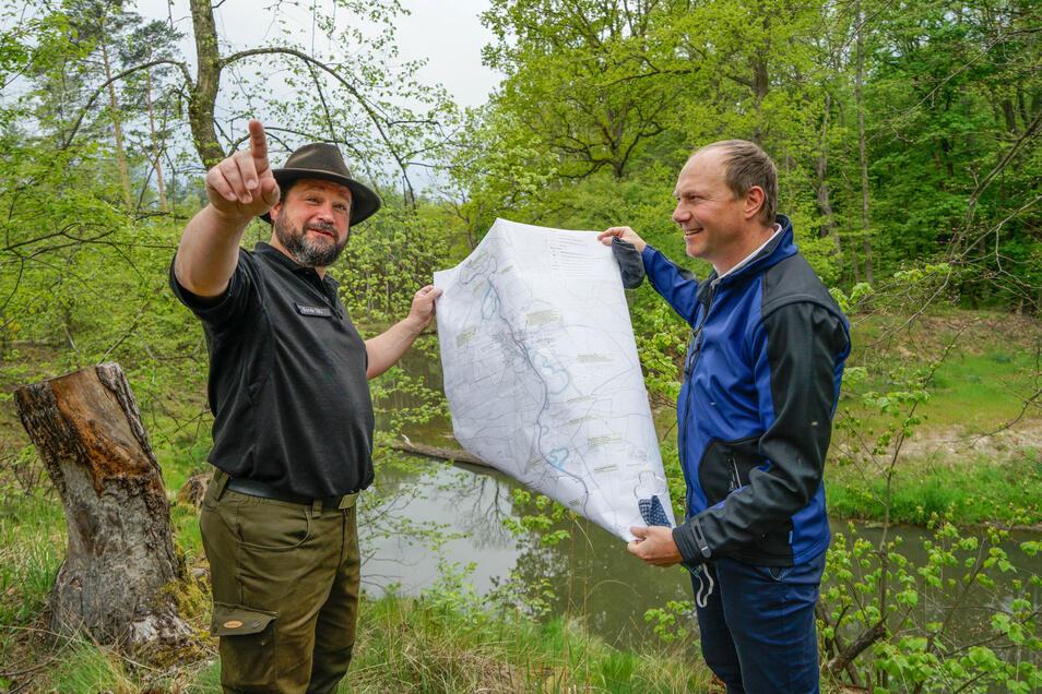 Sachsens Umweltminister Wolfram Günther (r.) und Alexander Bonde von der DBU Naturerbe überzeugten sich am Montag von der geglückten Renaturierung der Spree. 6,2 Millionen Euro haben Freistaat und BDU in das Projekt investiert.
