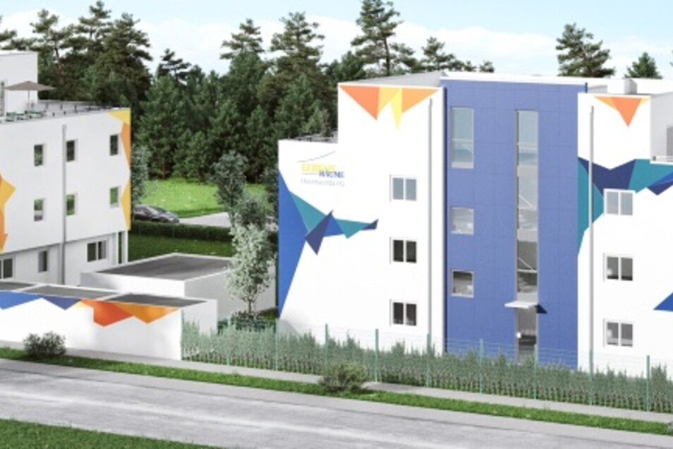 Aus Richtung Klinikum über die Weinertstraße hinweg soll das Neubauprojekt der LebensRäume Hoyerswerda mal so aussehen. Die Rohbauten sind schon weit gediehen. Das vier Millionen-Euro-Projekt ist die größte Investition der Genossenschaft für 2019/2020.