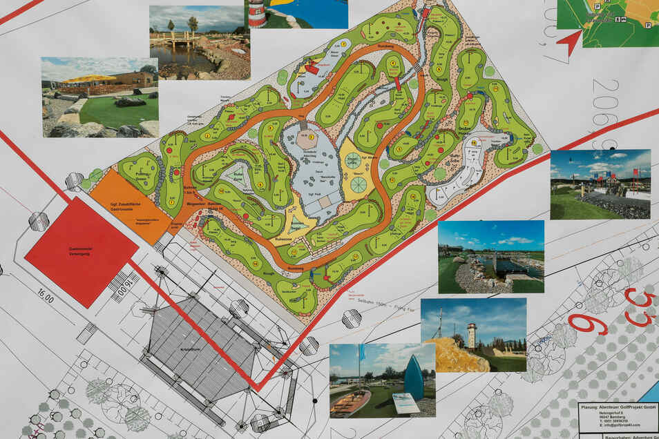 """Neben den Hochseil-Türmen entsteht """"Adventure Golf"""" mit 18-Loch, wie auf dem Lageplan zu sehen ist."""