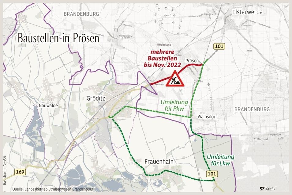 So stellt sich der Landesbetrieb Straßenwesen Brandenburg die Umleitungen wegen der Baustellen in Prösen für die kommenden zwei Jahre vor.