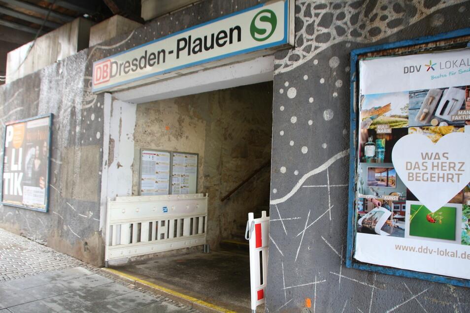 So sieht der Eingang zum S-Bahn-Haltepunkt in Dresden derzeit aus.