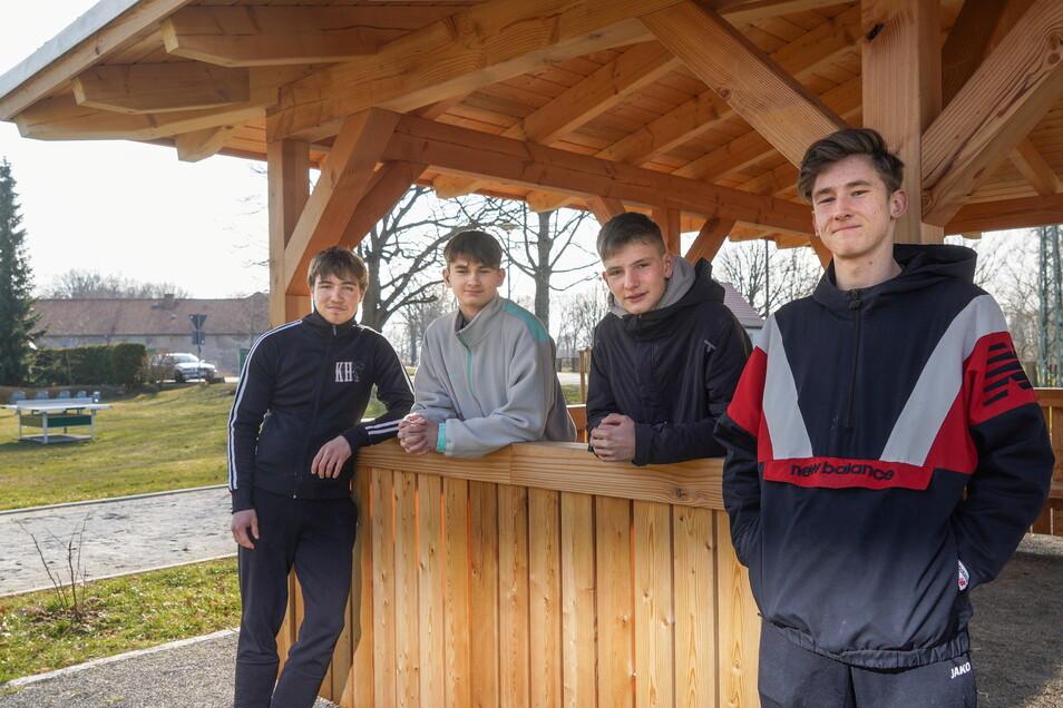 """""""Es gibt keinen Platz für die Jugend"""", finden Leonard Stier, Arthur und Hannes Lieschke sowie Hans Golchert (v.l.) aus Spreewiese. Deswegen wollen sie jetzt selbst einen Jugendclub aufbauen."""
