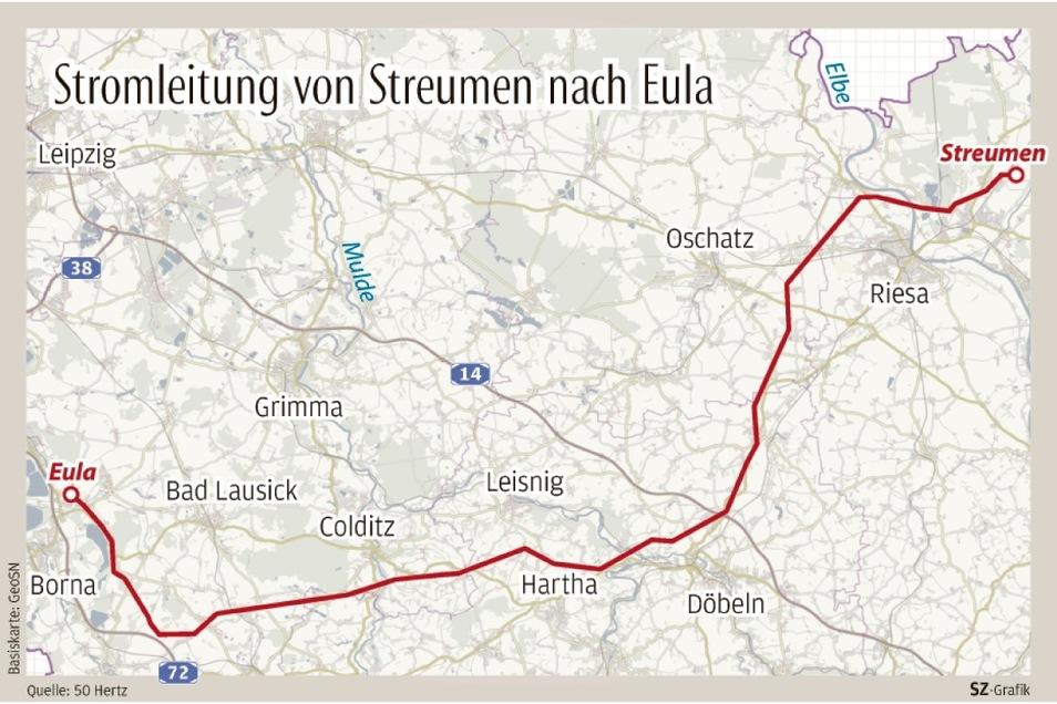 So verläuft die 380 kV-Stromleitung vom Umspannwerk in Streumen nach Eula bei Leipzig.