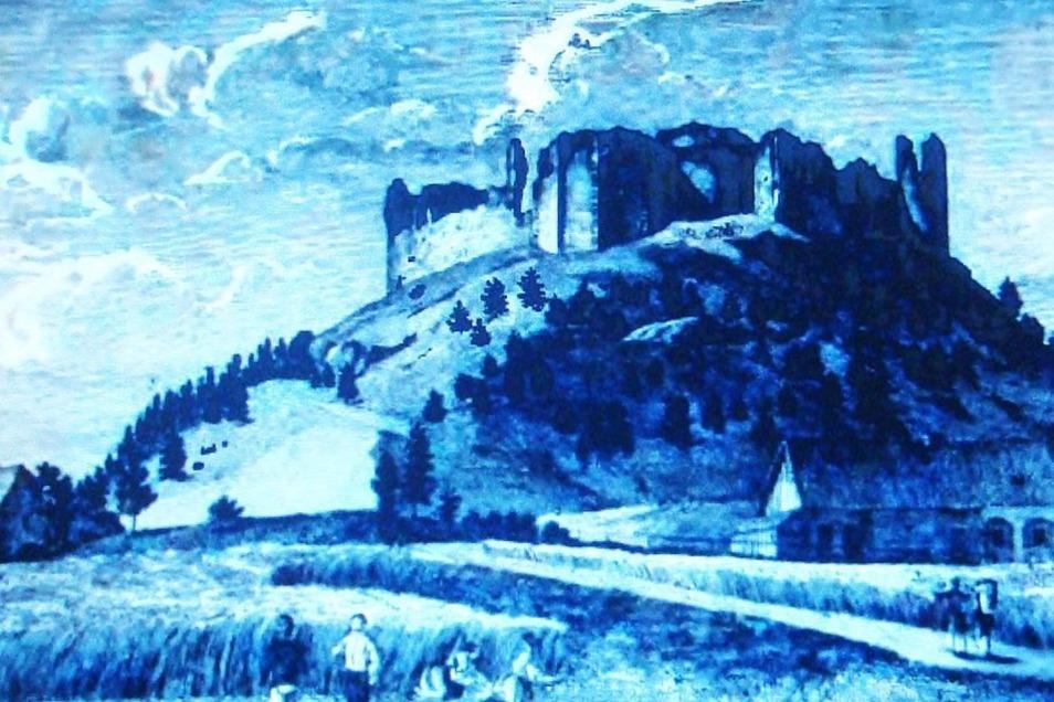 Der Tollenstein in einem Gemälde von Karl Brantl. Der einstigen Burg verdankt das Zittauer Wappen den schwarzen schlesischen Adler.