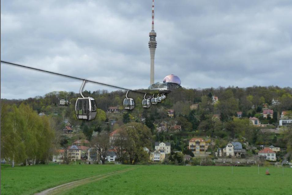 So wie in dieser Animation könnte es aussehen: Eine Seilbahn bringt die Gäste von Tolkewitz zum Fernsehturm.