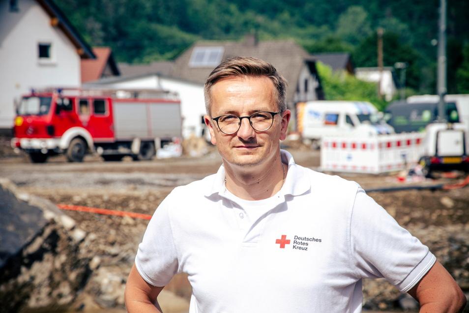 Kai Kranich ist Sprecher des Deutschen Rotes Kreuzes in Sachsen - rund eine Woche lang war er im Ahrtal und war dort Sprecher für den Einsatz.