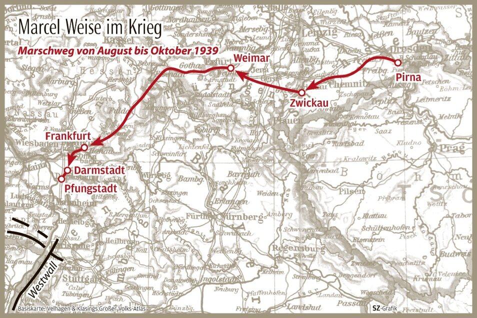 Verlegung in den Westen mittels Eisenbahn und per Fußmarsch.