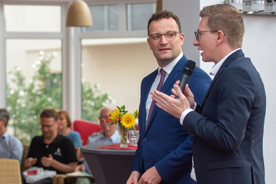 Oliver Wehner (r.) holte im Wahlkampf auch Bundesgesundheitsminister Jens Spahn zur Unterstützung in seinen Wahlkreis.