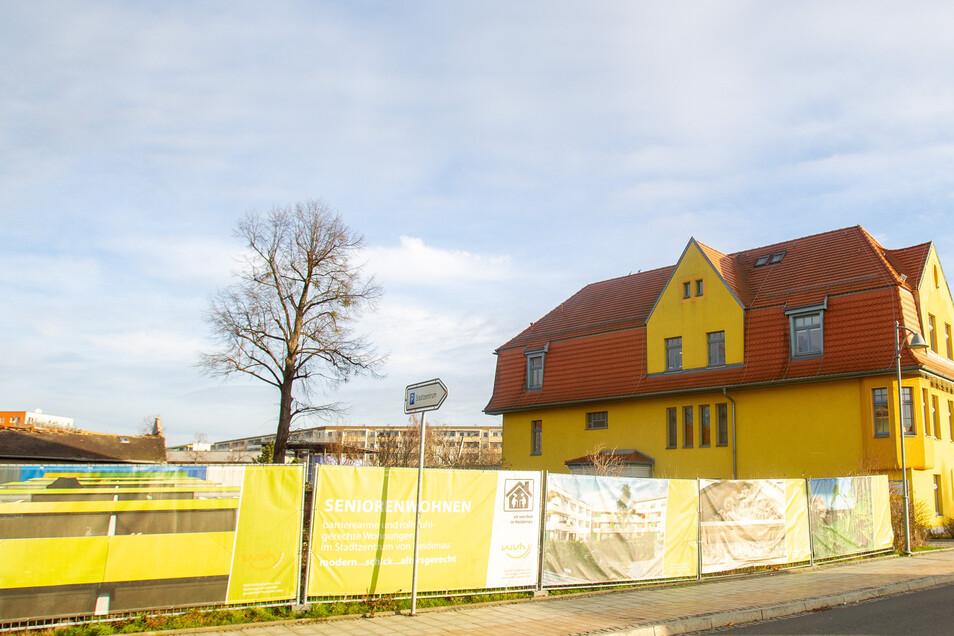 Heidenau in Gelb: Rechts das Stadthaus an der Bahnhofstraße, links der Zaun, hinter dem sich was tut.