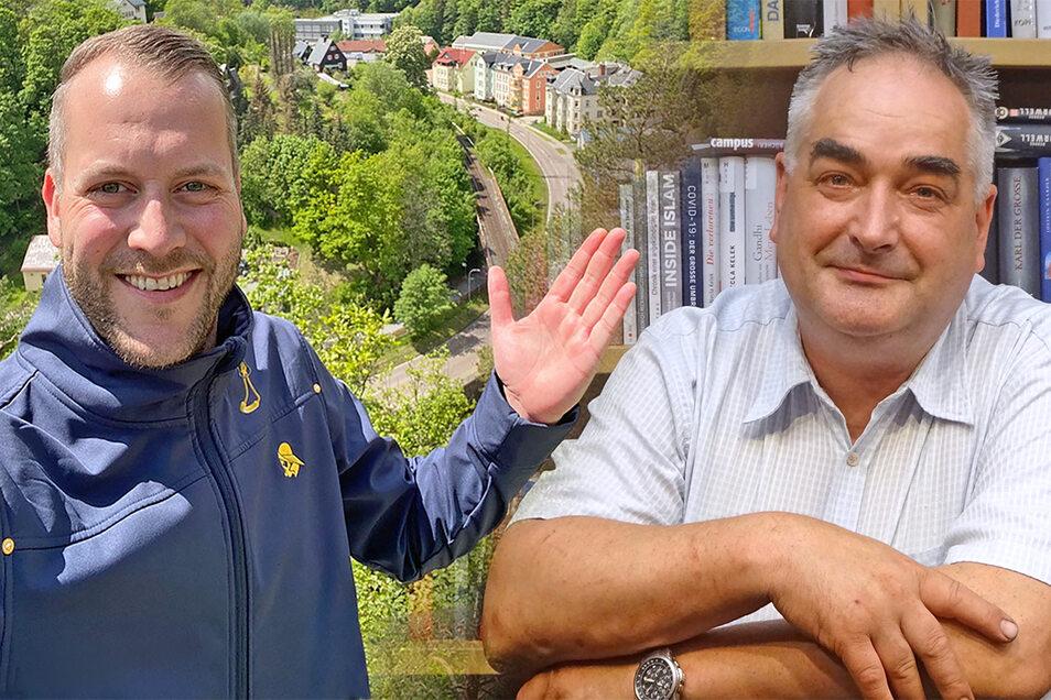 Sven Gleißberg (links) und Tilo Bretschneider wollen Bürgermeister in Glashütte werden und treffen bei einem Wahlforum aufeinander.