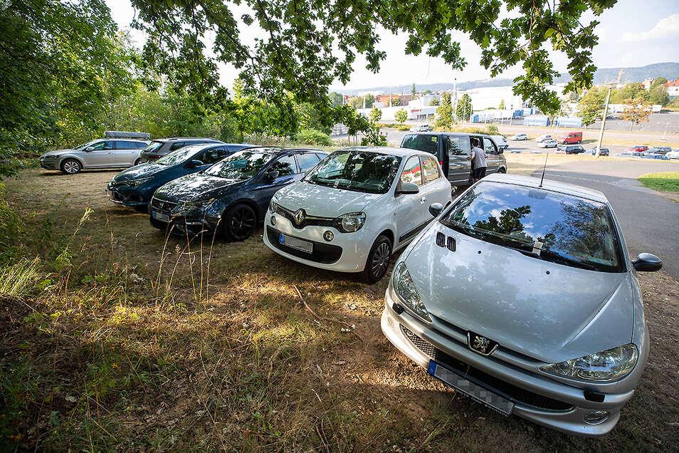 Mehrere Autos parken wild auf der Wiese am Albert-Schwarz-Bad in Heidenau. Zwei haben ein Knöllchen an der Frontscheibe.
