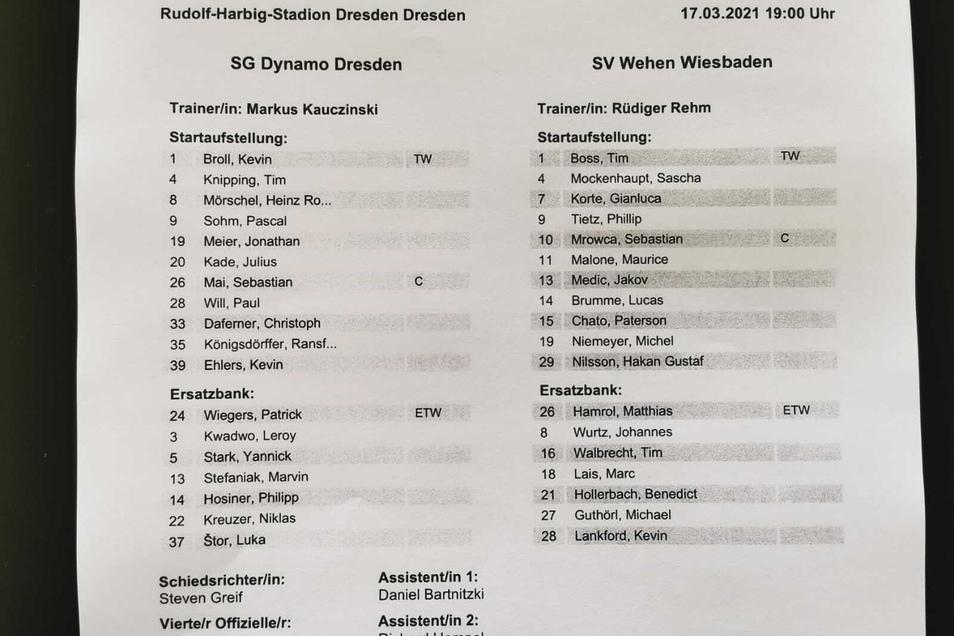 Eine Veränderung im Vergleich zur Partie am Samstag gegen Saarbrücken gibt es bei Dynamo: Pascal Sohm rückt anstelle von Philipp Hosiner in die Anfangself.