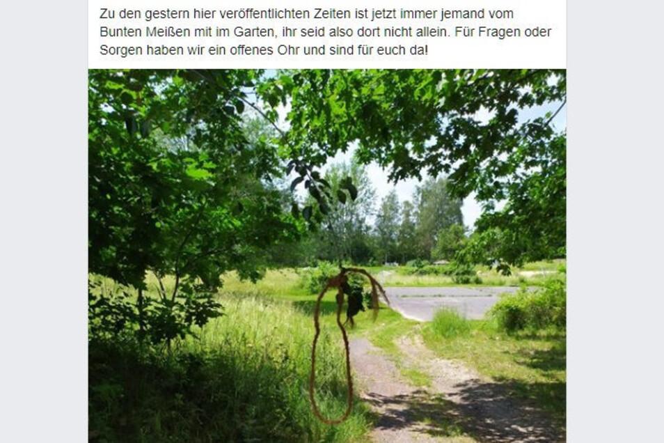 Unbekannte haben wahrscheinlich am 14. oder 15. Juni 2020 einen Galgenstrick auf dem Gelände des Internationalen Gartens in Meißen aufgehängt. Der Betreiberverein Buntes Meißen verurteilte die Hassbotschaft.