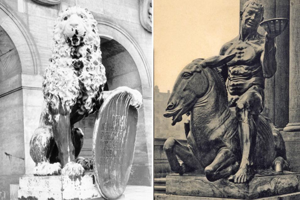 """Der """"Bacchus auf dem Esel reitend"""" und die Löwen vor der Goldenen Pforte des Rathauses stammen von Georg Wrba."""
