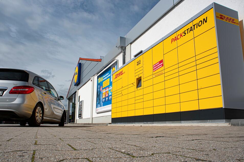 Das ist die neue Packstation am Lidl-Markt in Pulsnitz. Sie hat die Nummer 212.