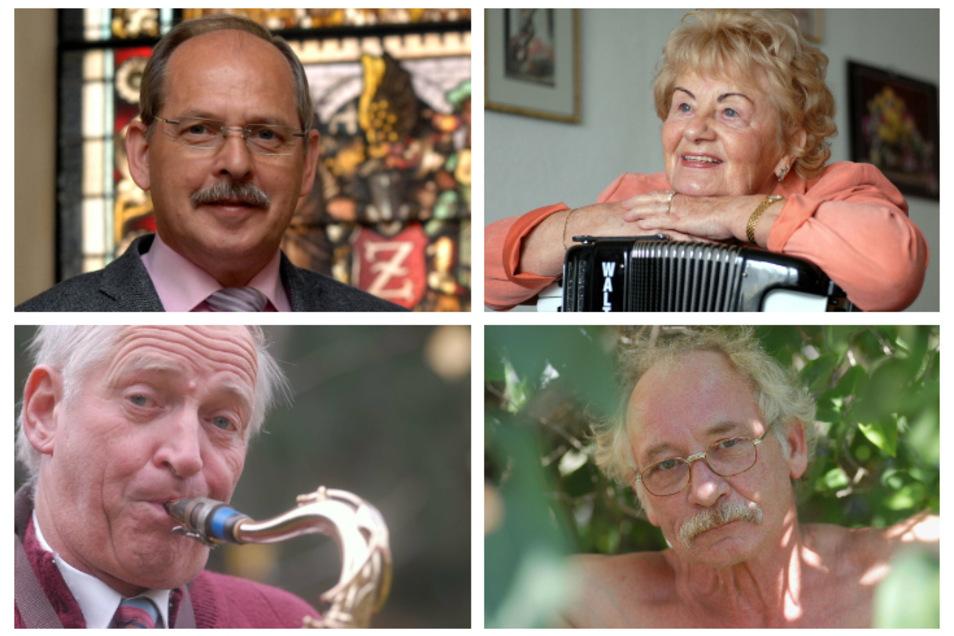Vier der dieses Jahr Verstorbenen: Arnd Voigt, Ingeborg Kießling, Kurt Gerlach und Detlef Lux (von oben links nach unten rechts).
