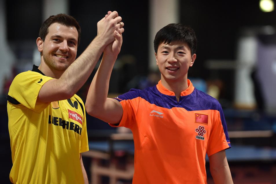 Timo Boll und Ma Long bildeten bei der WM 2015 ein deutsch-chinesisches Doppel.