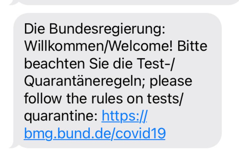 Die automatisch versendete SMS der Bundesregierung.