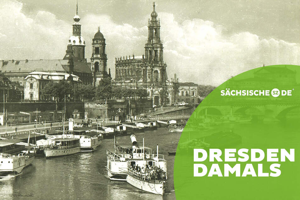 """""""Dampfschifffahrt auf der Elbe von einem inländischen Orte zum anderen"""": Dresdner Terrassenufer mit Dampferanlegestelle um 1930"""