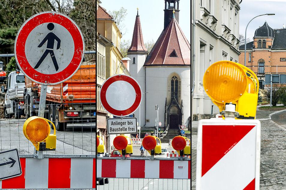 Überall in Zittau - wie hier an der Bergstraße, der Äußeren Weberstraße und dem Töpferberg - stehen derzeit Verbotsschilder und Warnbaken wegen Baustellen.