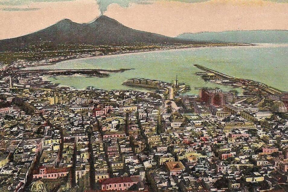"""""""Unbeschreibliche Schönheit."""" Vom Anblick Neapels mit Vesuv war der Dresdner Vorstadtjunge Kockisch überwältigt."""