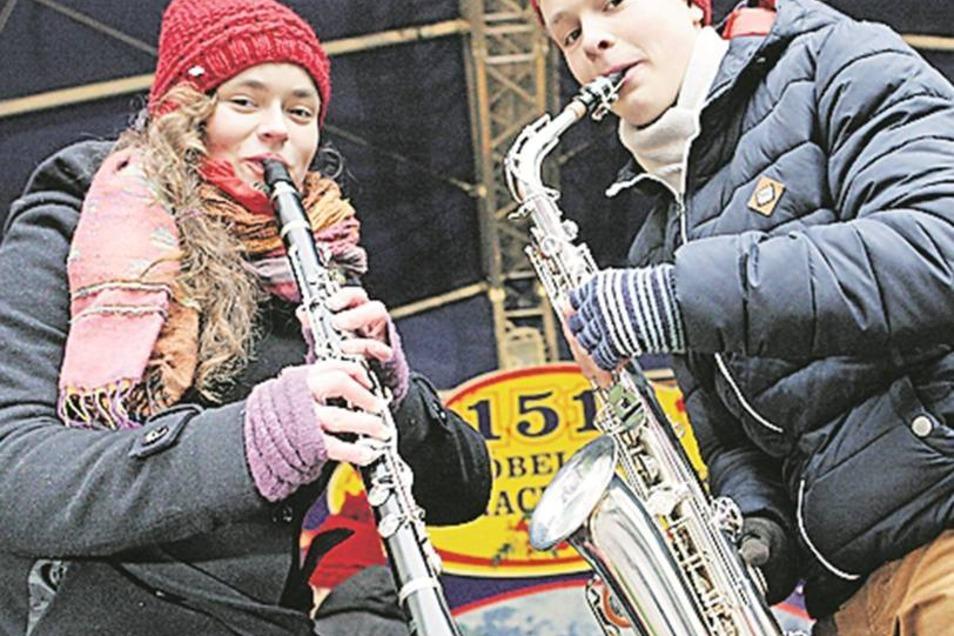 Das Blasorchester der Musikschule Döbeln hatte am Sonnabend seinen Auftritt.