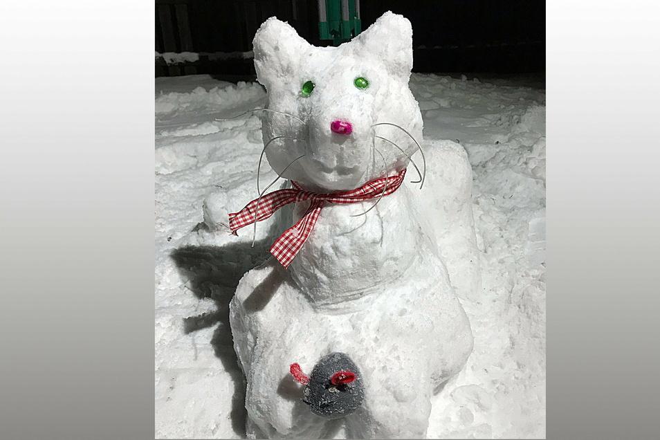 """Schneekatze """"Flöckchen"""" ist von Sarah-Jane Schönthier (18) erschaffen worden."""