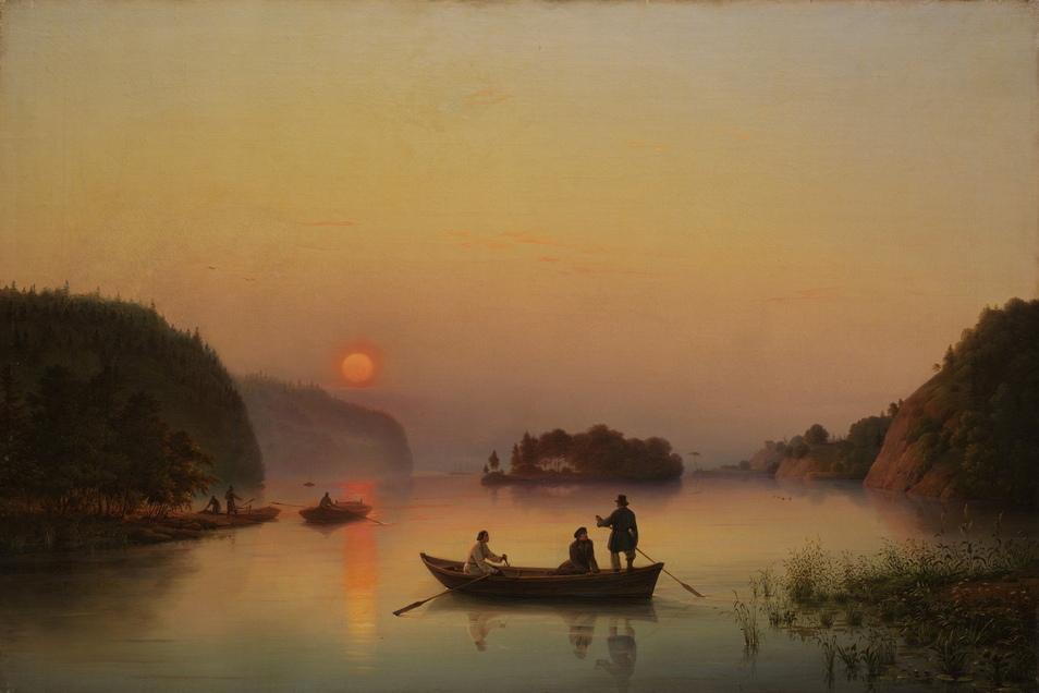 """Ziemllich ähnlich erscheint """"Die Insel Walaam bei Sonnenuntergang"""". Das Bild malte Anton Iwanowitsch Iwanow-Goluboi 1845, acht Jahre nach Richters """"Überfahrt am Schreckenstein"""","""