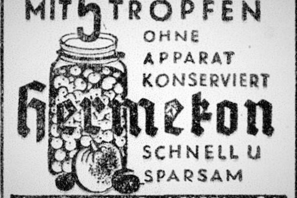 Mit Hermekon-Einkochtropfen kann man schnell, sicher, sparsam und hygienisch einwandfrei konservieren, hieß es 1960. Die Tropfen sind heute noch online beziehbar, so über das Kaufhaus des Ostens.