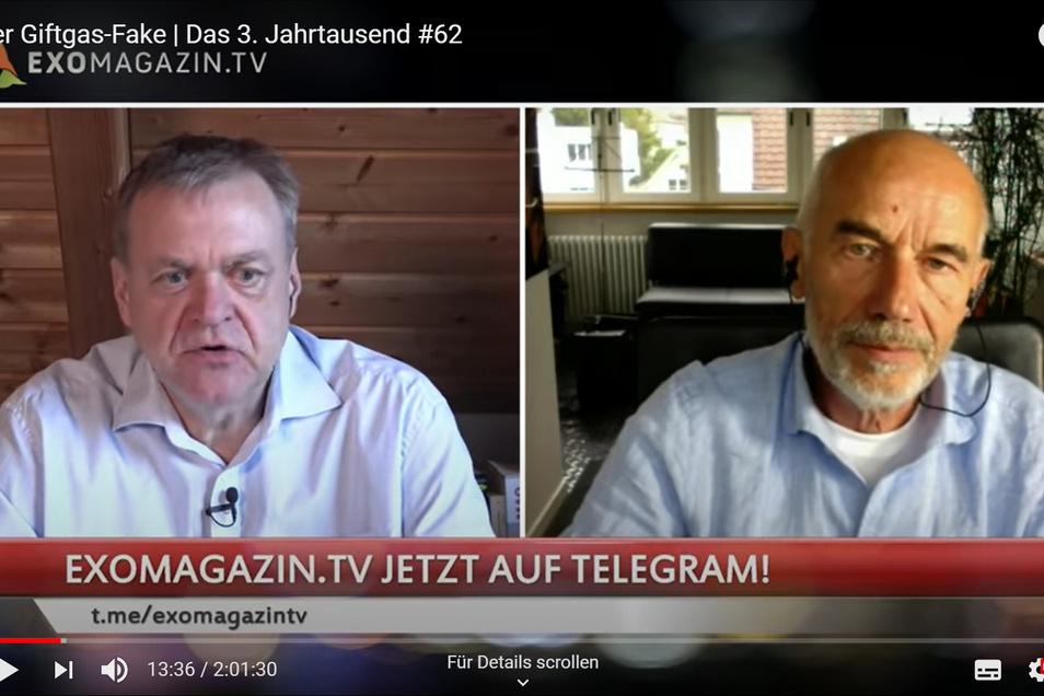 """Auch das Leipziger Alternativmedium Exo-Magazin fragt gerne """"Experten"""", die einer Meinung sind, wie Dirk Pohlmann (l.) und und Mathias Bröckers. Beide kennen sich in erstaunlich vielen Bereichen aus. In der Sendung vom Mai sprachen sie unter Verweis auf v"""