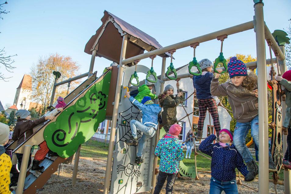 Im Waldhufener Ortsteil Nieder Seifersdorf nahmen am Donnerstag die Kinder aus der Kita Pfiffikusse ihre neuen Spielgeräte in Beschlag.