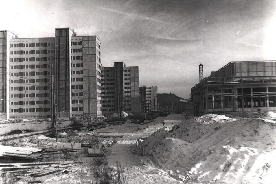 Das historische Foto zeigt den Bau der Hochhäuser und der Kaufhalle an der Straßenbahntrasse. Zwischen 1976 und 1980 wurden 3.146 moderne, ferngeheizte Wohnungen errichtet, um so die Lebensverhältnisse von etwa 10.000 Coswigern zu verbessern.