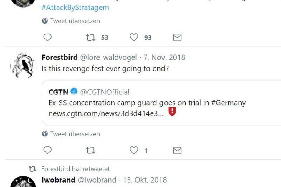"""Ein Tweet Waldvogels vom 7. November 2018. Sie kritisiert einen Gerichtsprozess gegen einen ehemaligen KZ-Wächter und nennt dies ein """"Rachefest""""."""