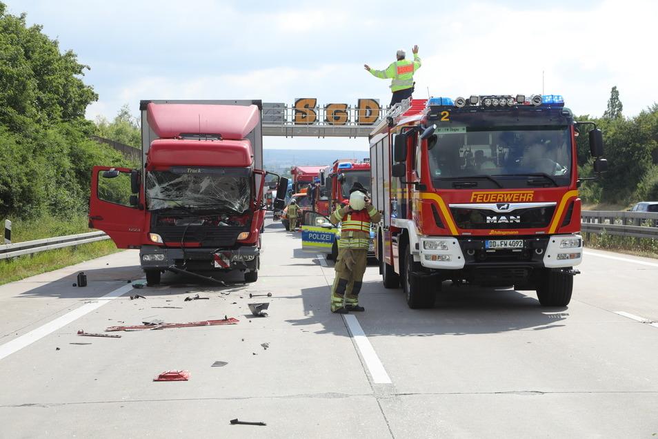 Blick auf die Unfallstelle auf der A4