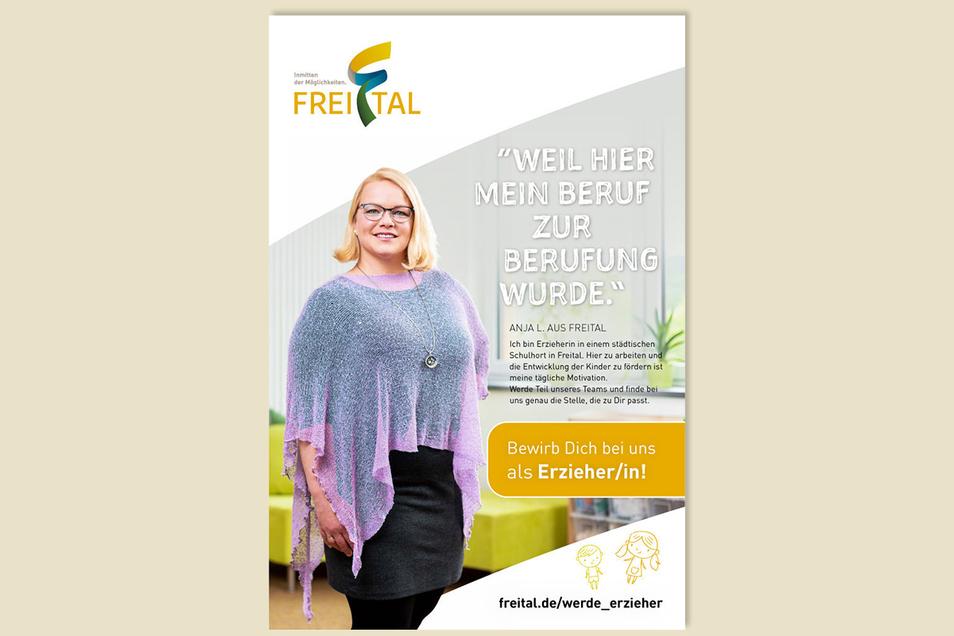 """Das Werbeplakat mit Anja Lawrenz: """"Weil hier mein Beruf zur Berufung wurde."""""""