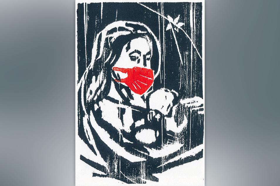 """Constanze Hohaus gab ihrem zweifarbigen Holzschnitt den Titel """"Maria hätte Maske getragen""""."""