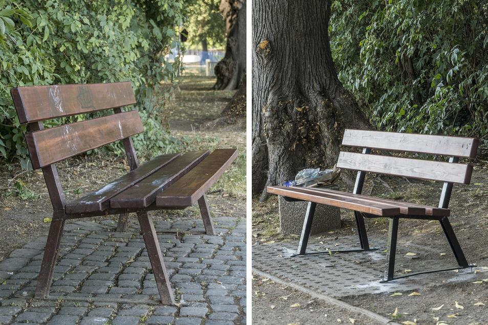 Die Bänke am Elberadweg im Riesaer Stadtpark sind wieder ganz.