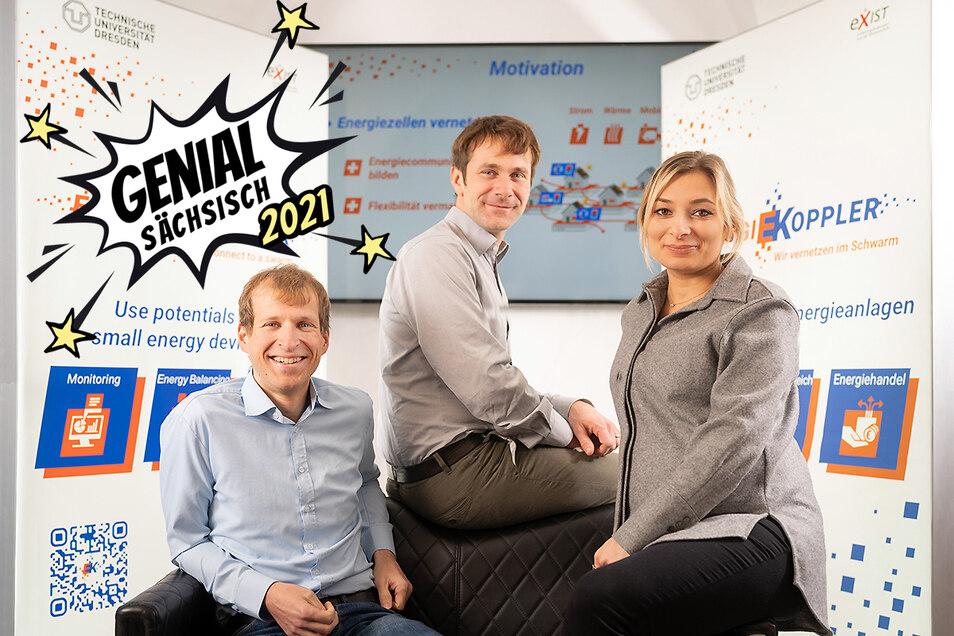 Tobias Heß, Jens Werner und Irina Weiß (v. l. n .r.) haben mit der Swarmbox eine Technologie entwickelt, die kleine Stromerzeugereinheiten miteinander verkoppelt, Stromfresser entlarvt und Entnahmezeiten optimiert.