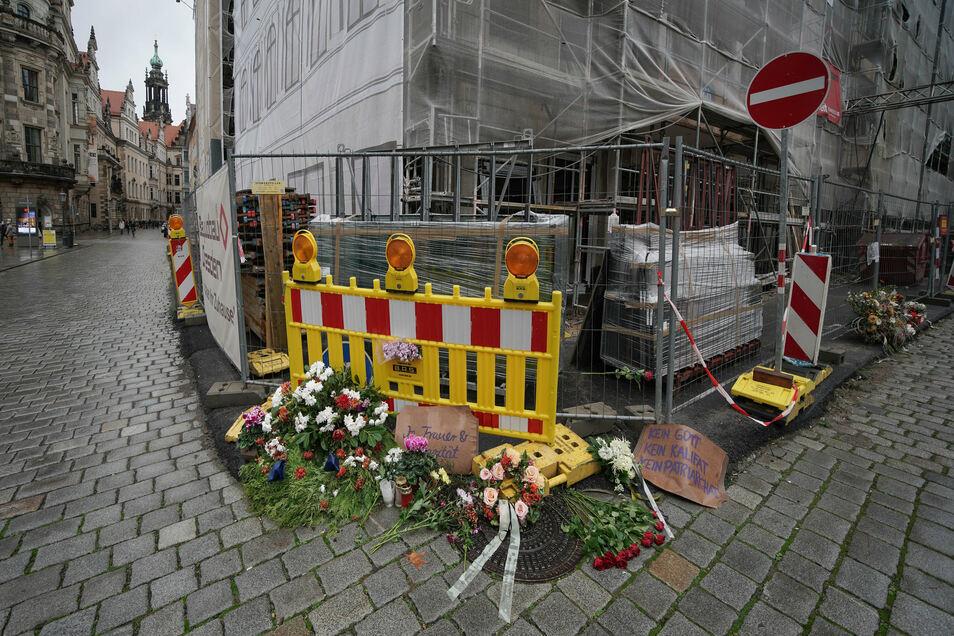 Der Tatort in der Dresdner Innenstadt. Hier wurden zwei Touristen aus Nordrhein-Westfalen von einem jungen Syrer niedergestochen, ein Mann starb an seinen Verletzungen.