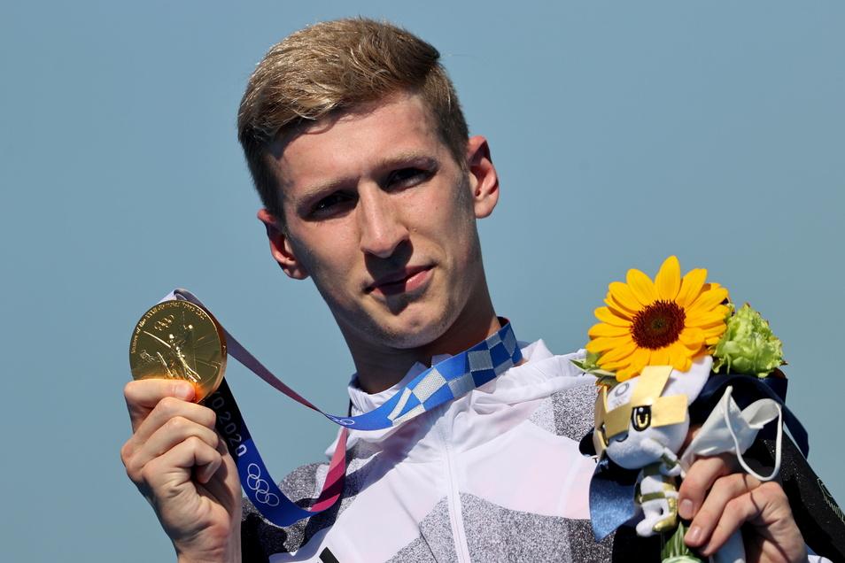 Keine großen Emotionen, dafür innerlich umso glücklicher: der neue Olympiasieger Florian Wellbrock.