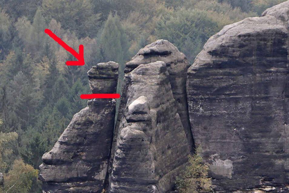 Klimmerstein vorher: Ein markanter Felskopf ruht auf einer Säule.