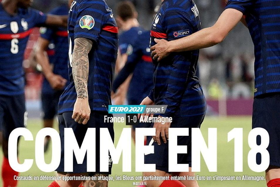 Comme en 18 ( zu Deutsch: Wie 18): Diese Titelzeile der französischen Sportzeitung L'Équipe löste nach dem Sieg der Franzosen gegen Deutschland heftige Debatten aus.