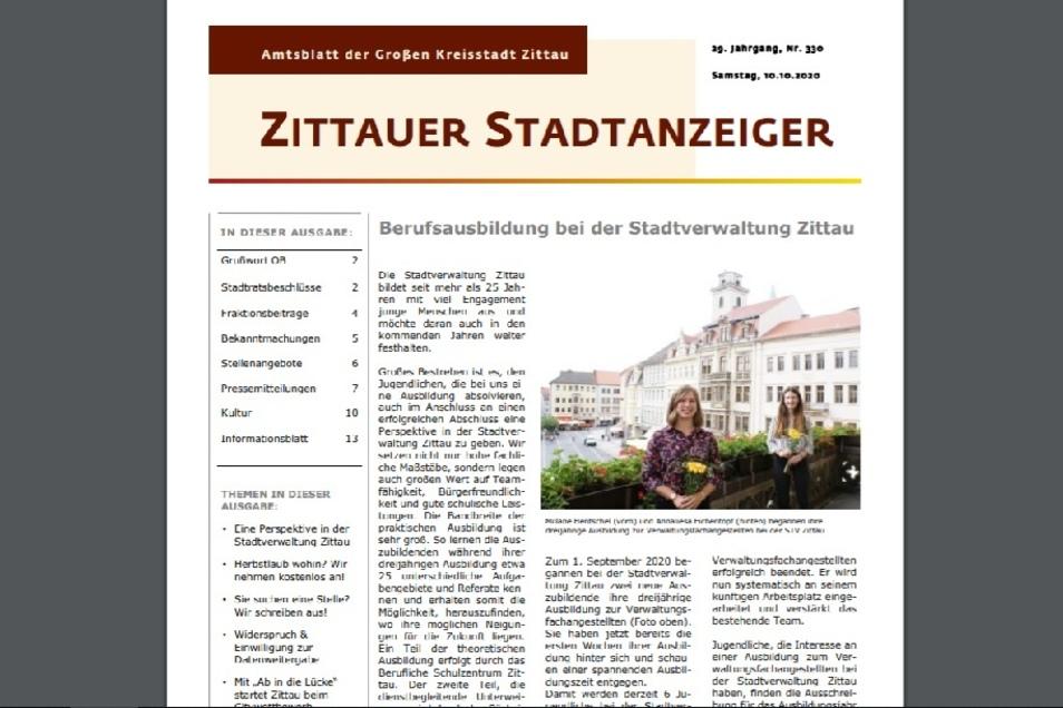 Der letzte Stadtanzeiger erschien am 10. Oktober.