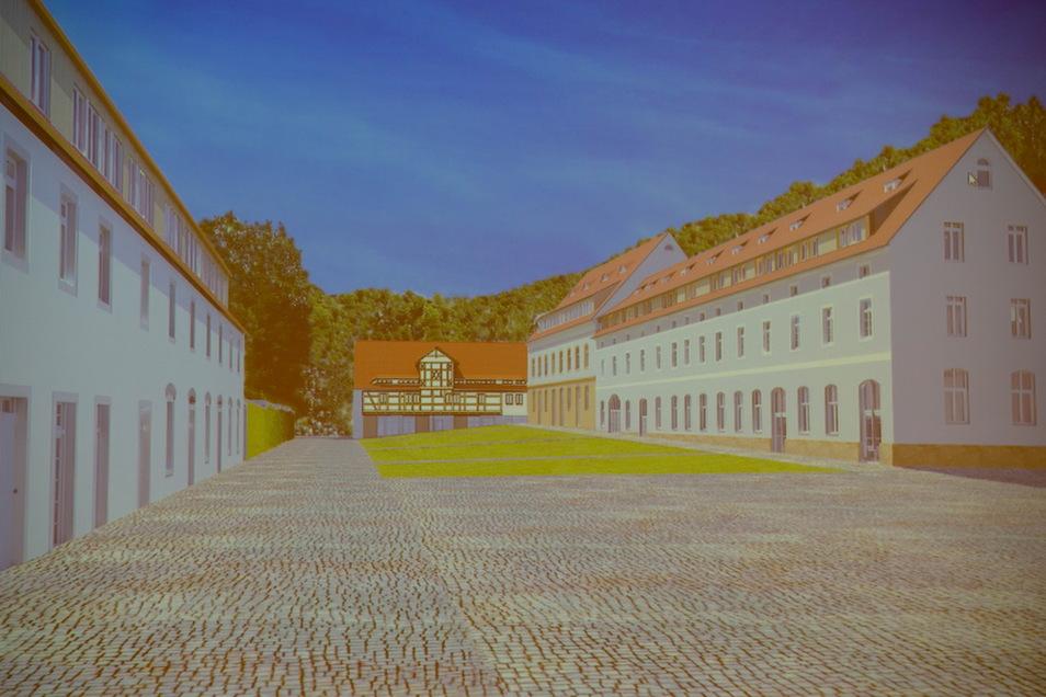 Wie in dieser Visualisierung von Architekt Lutz Horn-Läßig könnte das Areal der einstigen Wirtschaftsgebäude um den Hof von Schloss Nöthnitz in ein paar Jahren aussehen.