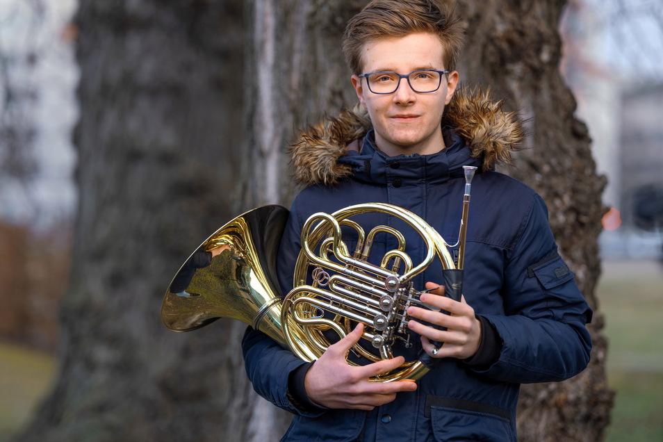 """Warum ein Waldhorn? """"Hornisten sind cool, zumindest kenne ich nur solche"""", sagt Caspar Hoba.."""