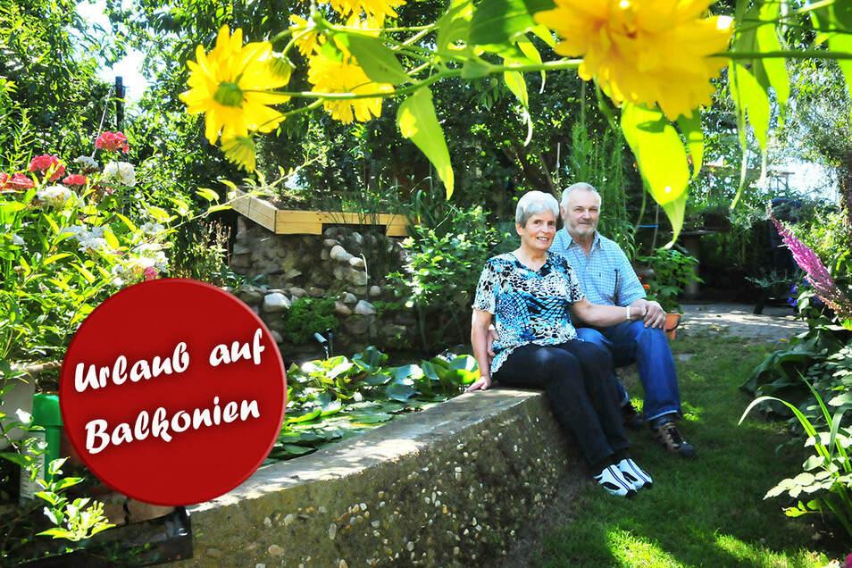 Das Tierarztpaar Ebermann aus Porschütz muss nicht in den Urlaub fahren. Ihr Garten ist ihr Paradies.